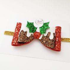 Christmas bow - oversize bow - christmast pudding - girl hair clip - headband - toddler hair band, festive headband by sweetandberryshop on Etsy