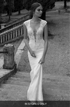 Free shipping and returns on Berta Sheer Back Lace Gown (In Stores Only) at Nordstrom.com. This wedding gown can't be purchased online but is available for special order in our in-store Wedding Suites. Special orders ship within 8–16 weeks. Please call 1.888.300.1295 to find a Wedding Suite near you or Book an appointment online.Designed to bewitch from every angle, a corded lace gown is inset with sheer illusion net at the plunging décolleté neckline and decidedly daring back, and…