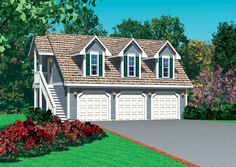 Garage Plan 95297 - 3 Car Garage Apartment Plan with 670 Sq Ft Carriage House Plans, Barn House Plans, Country House Plans, House Floor Plans, Garage Apartment Plans, Garage Apartments, Apartment Ideas, 3 Car Garage, Garage House