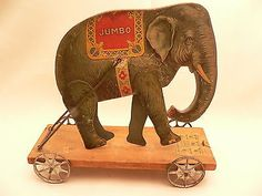 1910-1920, GIBBS Performing Jumbo Elephant Pull Toy