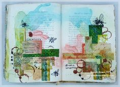 Visual diary, journal, mixed media pages.  Bumblebees and Butterflies Visual Journey 2015 #23