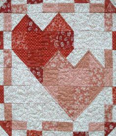 Be Mine Quilt Pattern TQB-112 by The Quilted Basket - Ann. Pieced wall hanging pattern for Valentine's Day. Advanced beginner.
