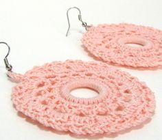 Peach Earrings Lace Doily Crochet Jewelry by Lilena on Etsy, $17.00
