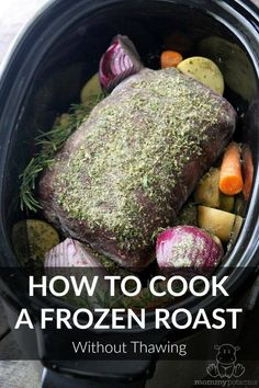 How To Cook A Frozen Roast In A Crockpot If you've wondered how to cook a frozen roast in a crock pot without thawing, this recipe is for you. It's great for unexpected last minute situations. Frozen Roast Recipe, Frozen Roast In Crockpot, Frozen Beef, Venison Roast Crockpot, Chuck Roast Recipes, Pot Roast Recipes, Game Recipes, Crockpot Recipes, Cooker Recipes