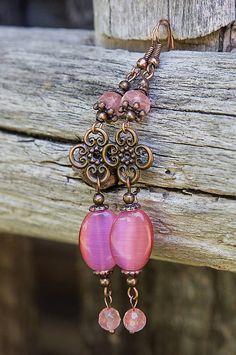 gabi111 / Ružové jadeity s cherry ruženínom - náušnice