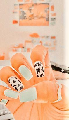 Acrylic Nails Coffin Short, Simple Acrylic Nails, Summer Acrylic Nails, Best Acrylic Nails, Acrylic Nail Designs, Western Nails, Country Nails, Cow Nails, Nagellack Design
