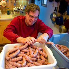 This has a great recipe page in Excel where you can change the quantities on several different kinds of sausage recipes and get the adjusted ingredient amounts.