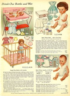 1958 Sears Christmas Catalog -- I had this Betsy Wetsy doll and the wooden playpen. Loved seeing this!