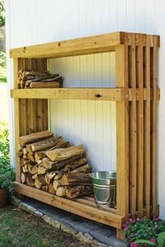 36 The Best Firewood Storage Design Ideas - It's hard to deny the comfort you get from a wood burning fire but storing a winter supply of firewood takes up a lot of space. A firewood storage rac. Outdoor Firewood Rack, Firewood Shed, Firewood Storage, Outdoor Storage, Wood Storage Rack, Wood Storage Sheds, Backyard Sheds, Fire Pit Backyard, Backyard Landscaping