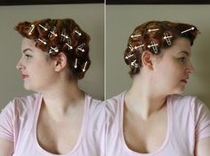 pin curl set for Bettie Page pageboy hairstyle