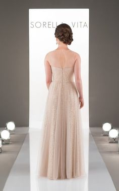 8689 Glamorous Tulle and Sequin Bridesmaid Gown by Sorella Vita