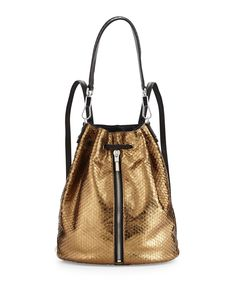 dc43b37f5582 Elizabeth and James Cynnie Embossed Leather Drawstring Backpack