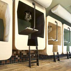 Check out this restaurant in Bergen, The Netherlands. Dutch design studio Tejp designed several elements for Restaurant Fabbrica in Bergen. Futuristisches Design, Design Studio, Deco Design, Cafe Design, Stand Design, Booth Design, Design Model, Design Elements, Creative Design