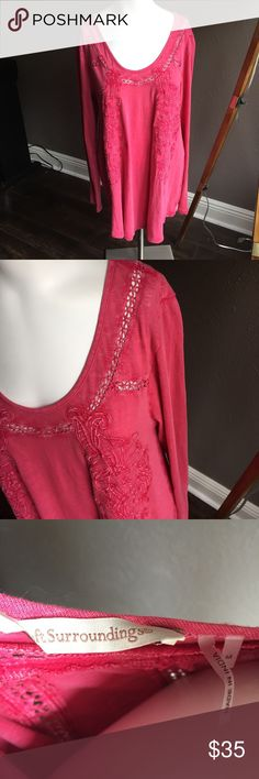 """Soft Surroundings t Shirt Sz M pink excellent cond Excellent condition! Beautiful and comfortable. Chest: 37""""; sleeve from shoulder: 25.5""""; length from top of shoulder: 29.5"""" Soft Surroundings Tops Blouses"""