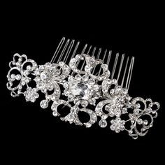 Antique Silver Rhodium Clear Rhinestone Swirl Comb 656 (NEW)