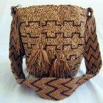 Mochila-Wayuu-Brown and Tan Urban Art, Straw Bag, Tapestry, Brown, Bags, Patterns, Fashion, Style, City Art