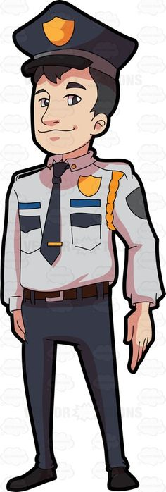 A Decent Looking Security Guard In Full Uniform Security Uniforms, Security Guard, Flat Illustration, Vector Illustrations, Fashion Illustrations, Police Officer Costume, Plate Drawing, Man Sketch, Royalty Free Clipart