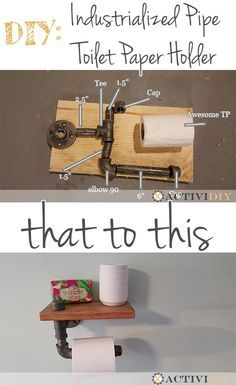 ActiviDIY - DIY - Industrialized #Pipe Toilet Paper Holder w/ Shelf