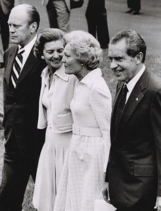 Gerald Ford and wife Betty escort the Nixons to Marine One on the day of Nixon's resignation