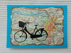 """Karte """"Das schwarze Fahrrad in Wien"""",Gutschein von UNIKAT-die Kreativ-Werkstatt auf DaWanda.com"""