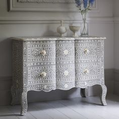 Estelle Bone Inlay Chest of Drawers in Grey - Due End August