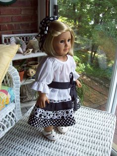 Doll peasant skirt blouse and hair clip Fits 18 by ASewSewShop, $15.99