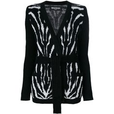 Balmain zebra print cardigan (€1.815) ❤ liked on Polyvore featuring tops, cardigans, black, v neck cardigan, balmain cardigan, zebra print cardigan, v-neck tops and embellished long sleeve top