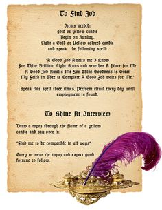 Magick Spells: To Find Job Spell. Free Spells and Book of Shadows Online… Magick Spells, Wicca Witchcraft, Luck Spells, Money Spells, Gypsy Spells, Candle Spells, Hoodoo Spells, Healing Spells, Under Your Spell