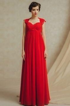 Luxus Sweetheart rotes langes Rückenfrei A-Linie Abendkleider aus Chiffon