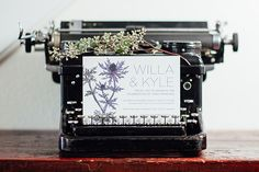 Eclectic Wedding Inspiration in a Cabinet of Curiosities theme with a Thistles Botanic Illustration for a Modern & Dark Wedding Invitation Suite with purples, blues, and blacks