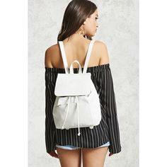 Forever21 Faux Leather Flap-Top Backpack (560 MXN) ❤ liked on Polyvore featuring bags, backpacks, white, vegan leather backpack, faux leather flap backpack, drawstring bag, flap backpack and drawstring flap backpack