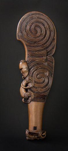 Wahaika Kotiate (hand weapon) - Whakairo Rākau - NZ Māori Art