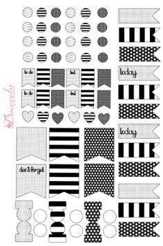 Resultado de imagem para black and white planner stickers
