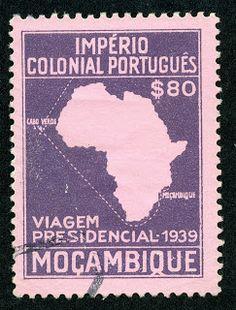 "Mozambique  1939 Scott 289 80c violet/pale rose ""Map of Africa"""