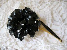 Retro Puffy Black & White Enamel Flower Pin Huge #Unbranded