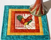 Rooster Mug Rug - Quilted Mug Rug - Rooster Candle Mat - Quilted Snack Mat - Country Mug Rug - Red and Teal Mug Rug - Mother's Day Gift