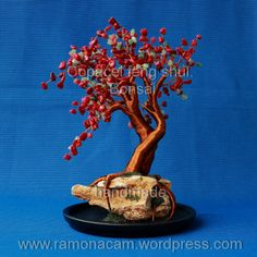 red coral - green aventurine wire tree