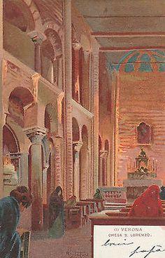 5294) Verona Illustrata Chiesa S. Lorenzo illustratore R. Tafuri viaggiata 1900