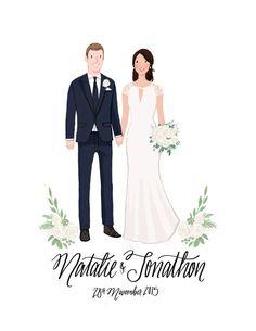Custom Couple Wedding Portrait & Print by kathrynselbert on Etsy Wedding Cards Handmade, Card Box Wedding, Wedding Card Design, Wedding Designs, Invitation Card Design, Wedding Invitation Cards, Wedding Stationery, Wedding Illustration, Couple Illustration