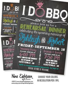 I Do BBQ Rehearsal Dinner Invitation Chalkboard look Custom PRINTABLE PDF invitation. I design, you print. Made to Match add ons available. Custom by NineEighteen, $12.00