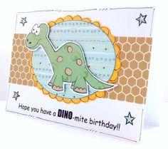 Dinosaur Birthday Card - Personalised -  Handcrafted - Cards for Kids - Children's Birthday Card - Brontosaurus