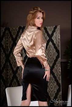 At least I look sexy in a satin blouse & skirt,……even if I just silently farted and cleared the room out……. Sexy Blouse, Blouse And Skirt, Dress Skirt, Pencil Skirt Outfits, Pencil Skirt Black, Pencil Skirts, Office Fashion Women, Womens Fashion, Belle Silhouette
