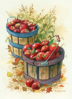 """Apple Basket With Cornstalks"" by Maureen McCarthy"