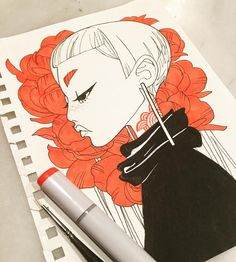 "Emily Warren Rice (@emilywarrenart) on Instagram: ""inkgirls 36 #inkedup #inkgirls #tattoo #copic #micron #red #flowers #freckles"""
