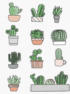 """""""Cactus"""" Sticker by Bullet Journal Lettering Ideas, Bullet Journal Banner, Bullet Journal Notebook, Bullet Journal School, Bullet Journal Ideas Pages, Bullet Journal Inspiration, Bullet Journal Design Ideas, Mini Drawings, Easy Drawings"""