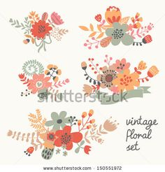 Retro flowers in vector. Cute floral bouquets. Vintage floral set. Save the date design collection. - stock vector