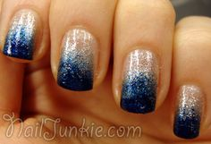 China Glaze – Fairy Dust (base)   Essence – Live Forever (sponge)   Essie – Midnight Cami (sponge)