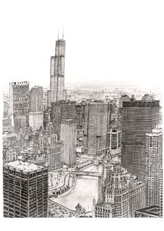 Chicago - Original drawings, prints and limited editions by Stephen Wiltshire Amazing Drawings, Amazing Art, Art Drawings, Stephen Wiltshire, Cityscape Drawing, Chicago, Cool Sketches, Urban Sketching, Beautiful Paintings