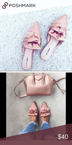 Pink satin mule flats Blush / pink satin mule flats. loved them so super cute, but too big. Size 7.5 but fit like 8 Shoes Flats & Loafers