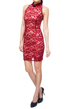 Cadence Lace Cheongsam in Red, S$ 31.00